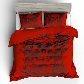 skulls duvet cover 3D red sugar skull Bedding Set with pillowcase
