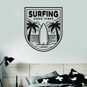 Surfing Good Vibes Decal Sticker Wall Vinyl Art Home Room Decor Bedroom Sports Quote Board Surf Ocean Waves Kids Teen