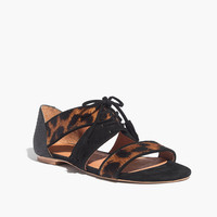 MADEWELL ET SÉZANE® ULYSSES LACE-UP SANDALS IN LEOPARD