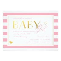 Pink & White Stripe Baby Girl Shower with Gold