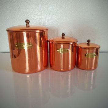 Vintage 50's Copper Canister Set Coffee, Flour, Tea