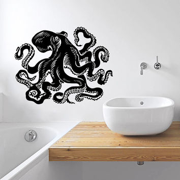 Wall Decal Vinyl Sticker Decals Art Home Decor Design Murals Octopus Tentacles Fish Deep Sea Scuba Ocean Animals Bedroom Bathroom Dorm AN434