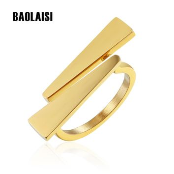 BAOLAISI Damond V Shape Ring Gold-Color For Women Girl Stainless Steel Wedding Bands Jewelry Birthday Party Gifts