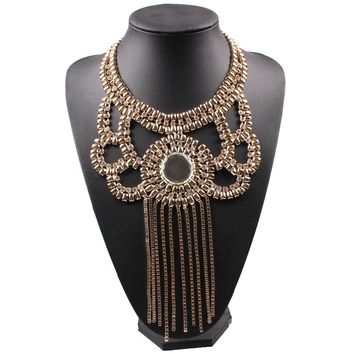 2017 New Arrival Design Fashion Alloy Necklace Big Chunky Statement Crystal Pendant Choker Necklace Collar For Women Jewelry