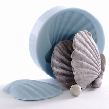 Sea Shell Silicone Mold - Shell Impression Mat - polymer clay mold- resin mold -  pmc mold - Creates a 3D Sea Shell