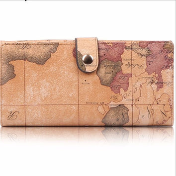 High Quality, Long Design, World Map Wallet -Snap Front