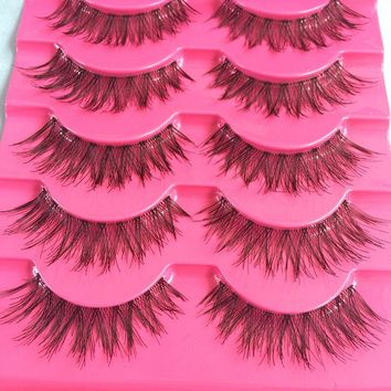 5 Pairs Handmade Natural Long Cross False Eyelashes Soft Eye Lashes Makeup Thick Fake False Eyelashes Extension Tools