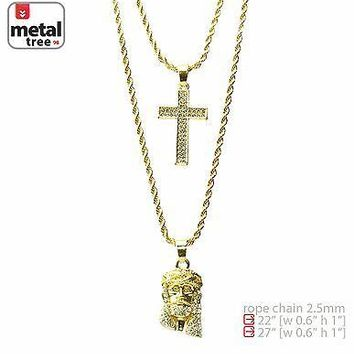 """Jewelry Kay style Men's 14K Gold Plated Jesus & Cross 22""""&27"""" Combo Pendant Necklace MHC 204 G"""