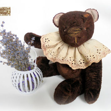Free shipping worldwide Vintage chocolate teddy bear Bruno Old teddy bear OOAK teddy bear Gift for her Little bear Interior Plush Stuffed