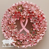 Breast Cancer Wreath / Pink Wreath / Breast Cancer / Pink Paper Flowers / Cancer Awareness / Flower Door Wreath / Pink Flower Wreath