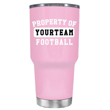 TREK Property of Football Personalized on Pretty Pink 30 oz Tumbler Cup