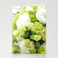 Bouquet from different white seasonal flowers Stationery Cards by Yumehana Design Fine Art Photography