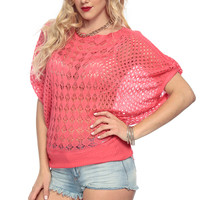 Coral Knitted Over Sized Top