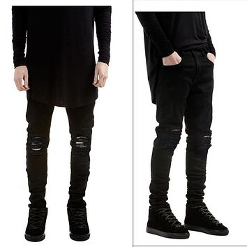 2017 New Casual Ripped Red White Men's Jeans Skinny New Brand Jeans Denim Destroyed Stretch Jeans Male Pants Slim Men's Trousers