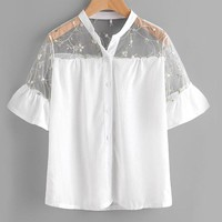Floral Mesh Yoke Shirt White Embroidery Sheer Blouse Women Button Up Tops Ruffle Cuff Patchwork Cute Blouse