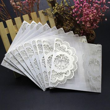 10Pcs Wedding Invitation Card Kit with Envelopes Seals Personalized Printing Invitacion A Cielo Abierto #GB0