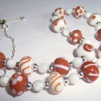 Brown and white lampwork bead necklace