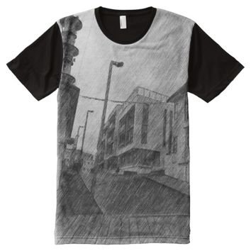 black and white House drawing All-Over-Print T-Shirt