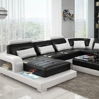 Modern Entertainment Black + White Leather Sofa