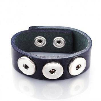 Black Leather Single Chunk Charm Bracelet. For Snap Button Chunk Charms.
