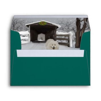 Samoyed Christmas A7 Greeting Card PaperType:Linen Envelope