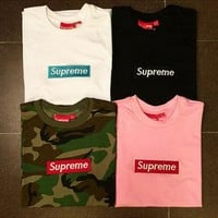 SUPREME BOX LOGO Classic pure color cotton T-shirt pocket shirt S-XXL-NEW !!!