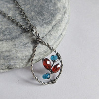 Garnet And Apatite Sterling Silver Necklace, January Birthstone, Plaited Wire Teardrop Pendant, Gemstone Jewelry