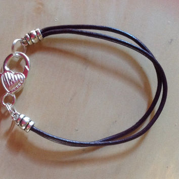 Purple Dark Purple Violet Awareness Leather Heart  Bracelet - Alzheimer -lupus- Cystic Fibrosis-Cancer-fibromyalgia