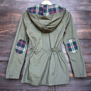 ESBONUD womens plaid hooded military parka jacket - olive green