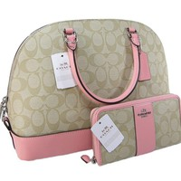 One-nice™ New Coach C Signature Purse Satchel Crossbody & Wallet Set Khaki Blush 2 Piece