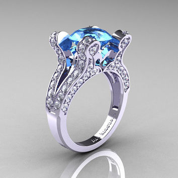 Maria - French Vintage 14K White Gold 3.0 CT Blue Topaz Diamond Pisces Wedding Ring Engagement Ring Y228-14KWGDBT