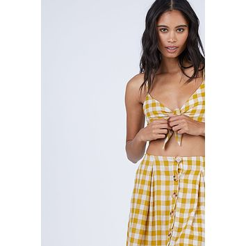 Ryna V Neck Front Knot Tie Top - Mustard Yellow Gingham Print