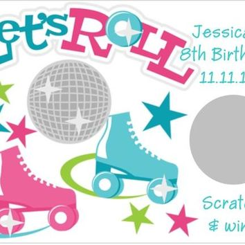 10 Roller Skating Birthday Party Scratch Off Cards