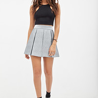 FOREVER 21 Pleated Metallic Skirt Silver/Teal