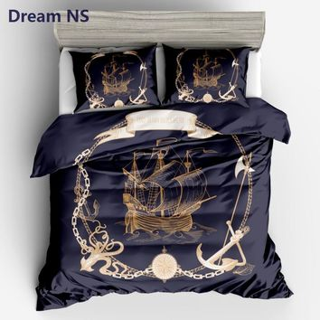 AHSNME Sailboat Printed Duvet Cover Anchor Compass Bedding Set Soft Breathable Fiber Bedclothes 3pcs King Queen Size