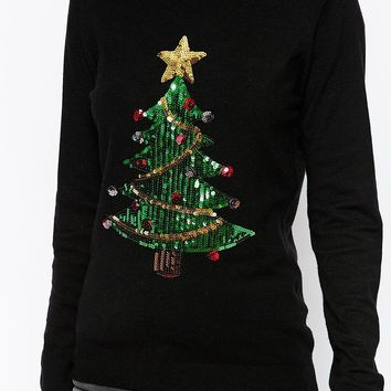 Fashion Union Sequin Christmas Tree Jumper