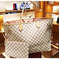 Free shipping-LV Tide brand female classic old flower checkerboard shopping bag two-piece White check