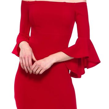 Teeze Me | Quarter Sleeve Off-The-Shoulder Dress | Red