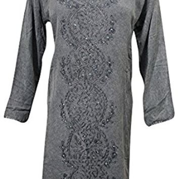 Womens Peasant Tunic Grey Embroidered Stonewashed Bohemian Shift Dress M
