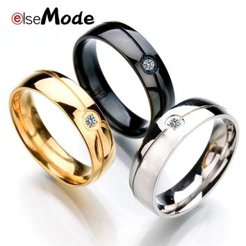 ELSEMODE Fashion Cubic Zircon Slash Simple Wedding Rings Black Gold Steel Color For Women Girl Friend Gift