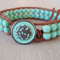 "Rustic turquoise leather bracelet ""Old Glamour"", distressed leather, verdigris, green patina, Shabby chic, bohemian surfer glam"