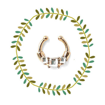 Tribal Gold Faux Septum Piercing, Petite Jeweled Nose Ring