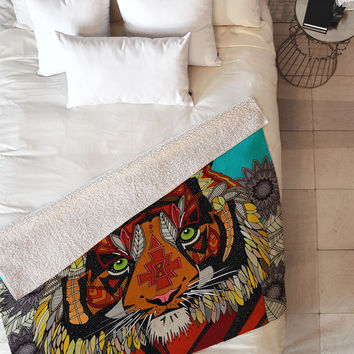 Sharon Turner Tiger Chief Fleece Throw Blanket
