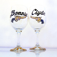 Bonnie and Clyde, Wine Glasses, His and Hers, Wine Glass, Anniversary, Toasting, Wedding, Couples, Gifts, Guns, Bullets, Gangster, Custom