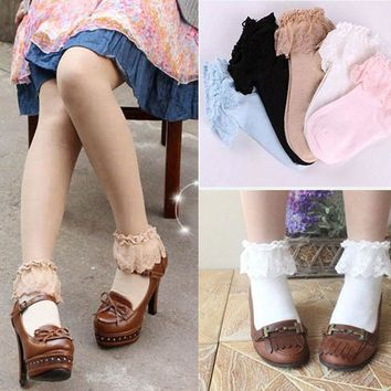 CREYONJ Sweet Cute Women Girls Princess Vintage Cotton Lace Ruffle Frilly Floral Ankle Socks