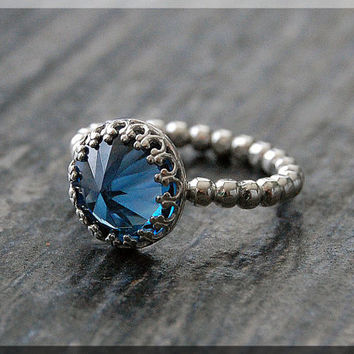 Blue Zircon Ring, Ready to Ship, US Size 6.25, Sterling Silver gemstone Ring, Blue Zircon Cocktail Ring, Huge Blue Zircon Engagement Ring