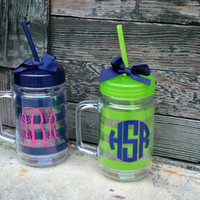 MONOGRAMMED 22oz Double Walled Acrylic Mason Jars - Bridesmaid Gift - Sorority Gift - Beach - Nautical
