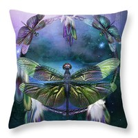 """Dream Catcher - Spirit Of The Dragonfly Throw Pillow for Sale by Carol Cavalaris - 14"""" x 14"""""""