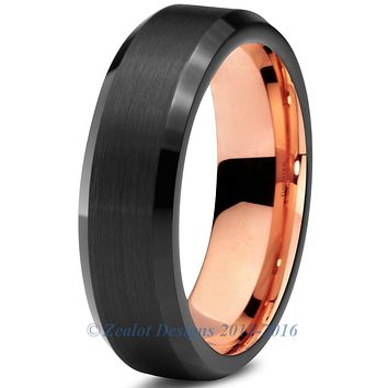 6mm Rose Gold Tungsten Beveled Black Pipe Cut