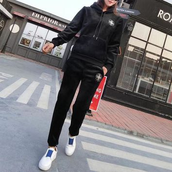 """Chrome Hearts"" Women Casual Fashion Velvet Cross Hooded Long Sleeve Sweater Trousers Set Two-Piece Sportswear"